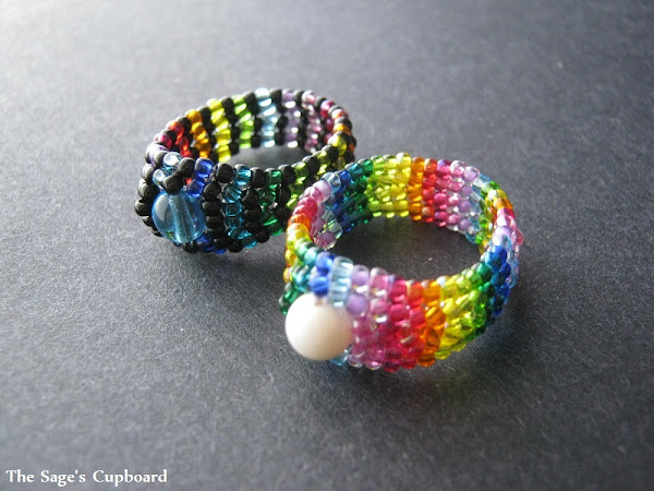 Rainbow Herringbone Rings