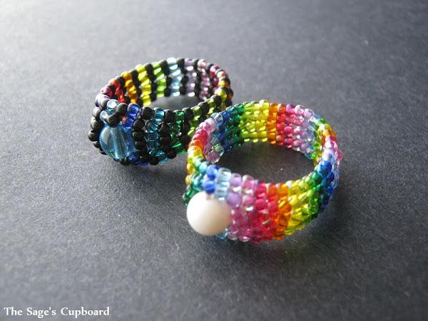 Rainbow Herringbone Rings