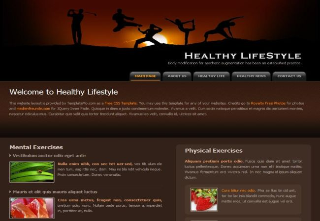 Health Fitness Blog CSS Website Template