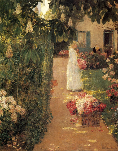 Childe Hassam - Gathering Flowers in a French Garden