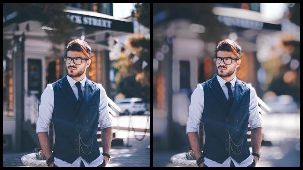 antes e depois da foto sendo que uma foto o fundo está desfocado