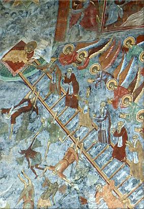Detalle de la ''Escala de las Virtudes'' (Mănăstirea Suceviţa)