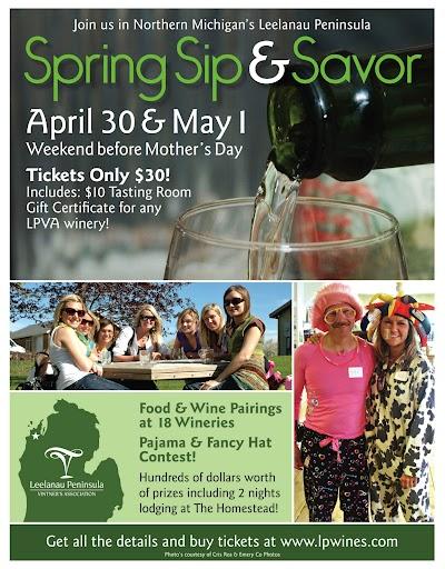 Spring Sip & Savor Wine Tour  coming to Leelanau Peninsula April 30-May 1