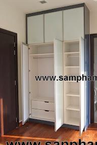 Tủ âm tường bằng gỗ công nghiệp màu trắng