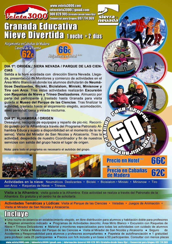 Granada Educativa y Nieve Divertida Sierra Nevada Viaje grupo escolar
