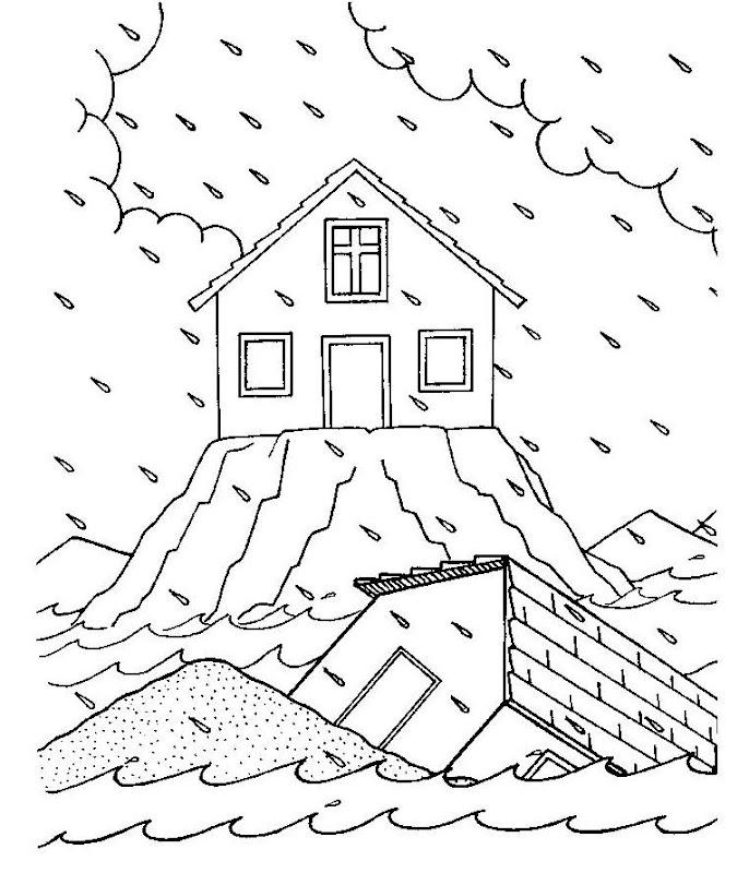 Parábola de la casa sobre la roca para colorear