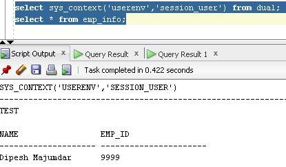 query emp_info table belonging to test1 from test without using dot operator