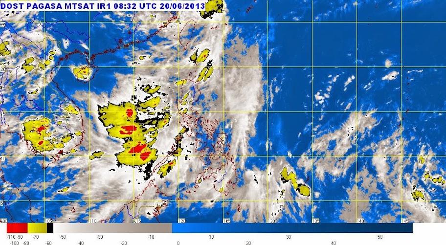 Satellite image of Tropical Depression Fabian as of 9:32 p.m. Thursday, June 20, 2013