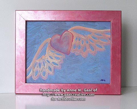 Beating Heart mixed media painting with custom metallic beeswax frame by Anne Gaal of http://www.gaalcreative.com