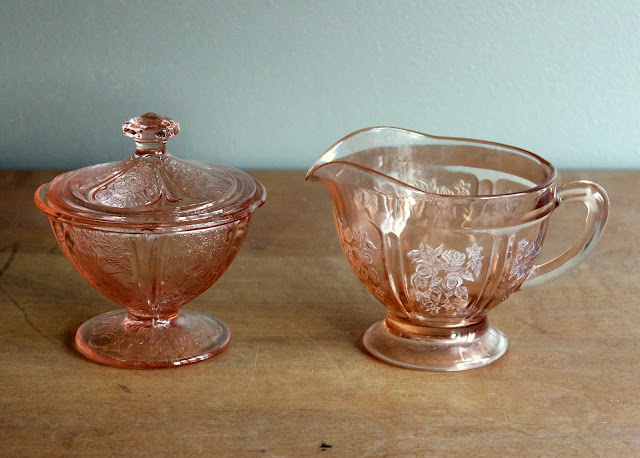 Pink depression glass creamer & sugar available for rent from www.momentarilyyours.com, $2 for set.