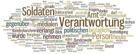 Die Rücktrittsrede Guttenbergs im Wortlaut visualisiert