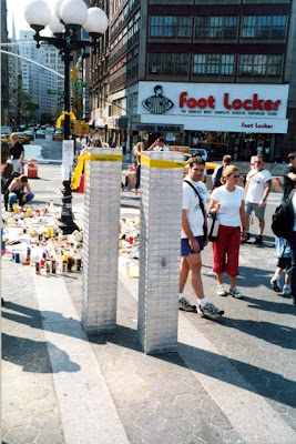 Twin Towers replica in Union Square in New York after September 11 2001