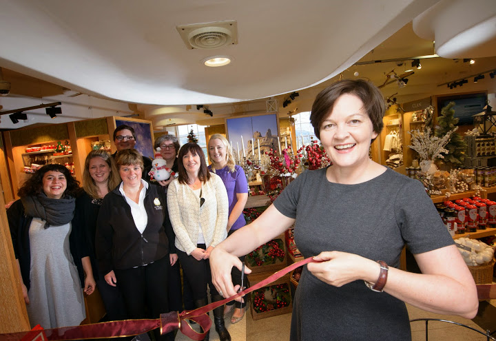 Kari Coghill, Head of Business Development at Historic Scotland, officially opens Stirling Castle's Christmas shop