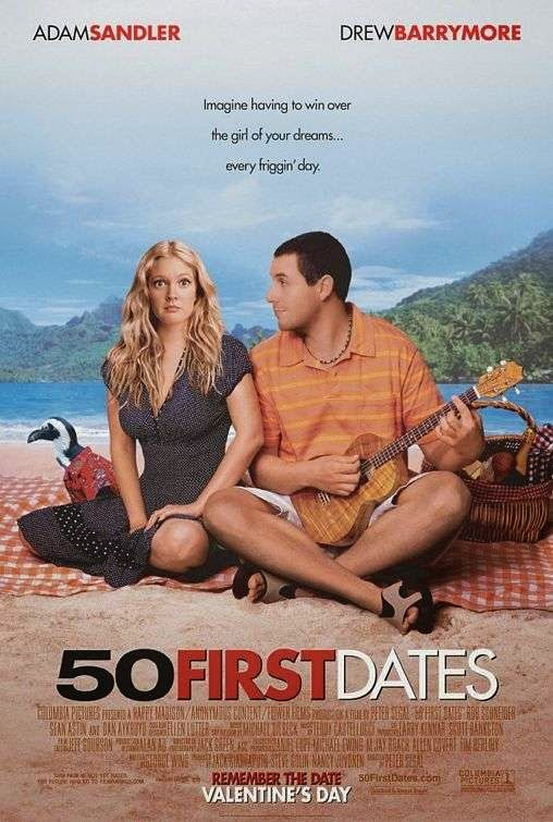 Poster Of 50 First Dates (2004) Full Movie Hindi Dubbed Free Download Watch Online At Alldownloads4u.Com