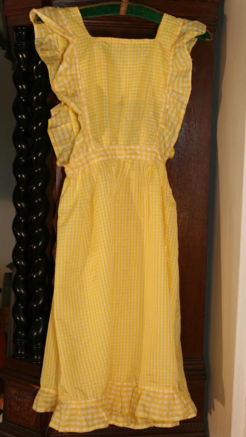 gul- och vitrutig vintageklänning