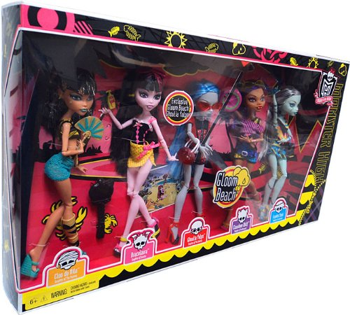 Pack en el que viene Ghoulia Gloom Beach. No disponible en España.
