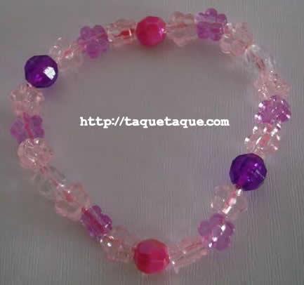 pulsera multicolor: blanco transparente, rosa, lila y violeta