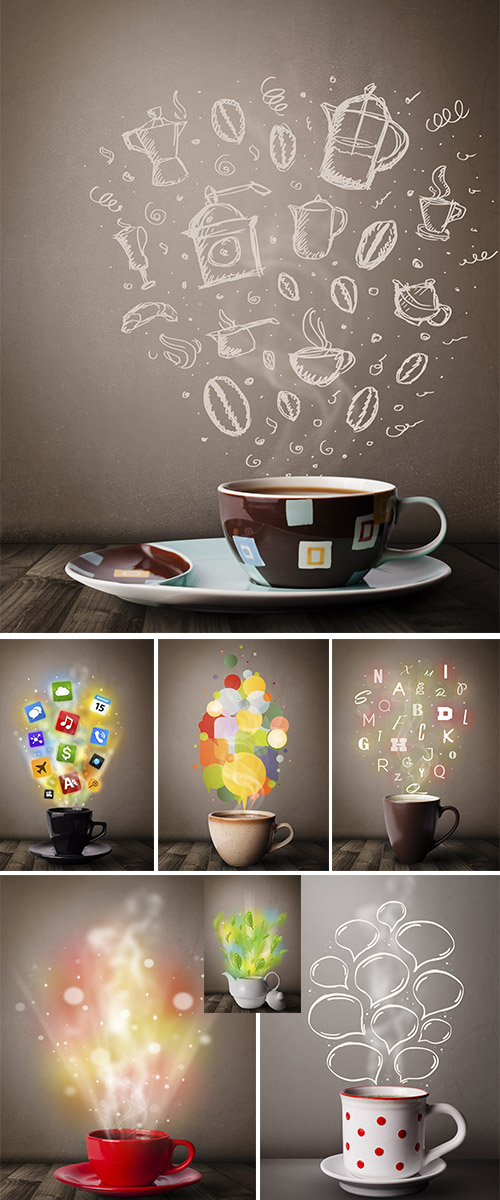 Stock Photo: Coffee and tea cup with colorful letters