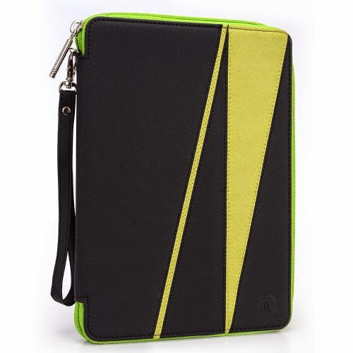 GizmoDorks Travel Folio Zipper Stand Case Cover Pouch for Kobo Vox with Carabiner Key Chain - Green
