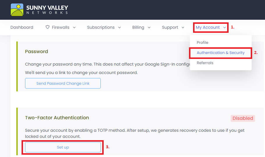 Two-Factor Authentication Setup