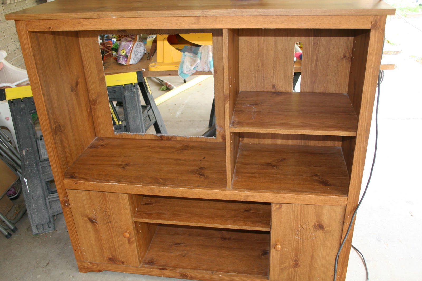 Repurposed Play Kitchen Entertainment Center