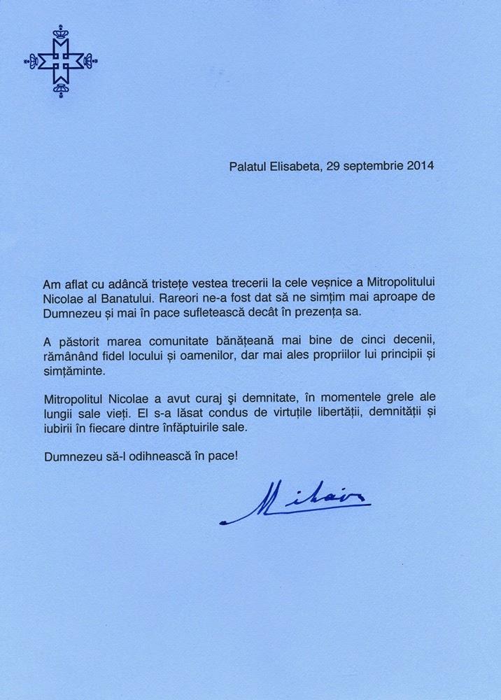 Mesajul de condoleanţe al Regelui Mihai I la aflarea veştii morţii Mitropolitului Nicolae al Banatului