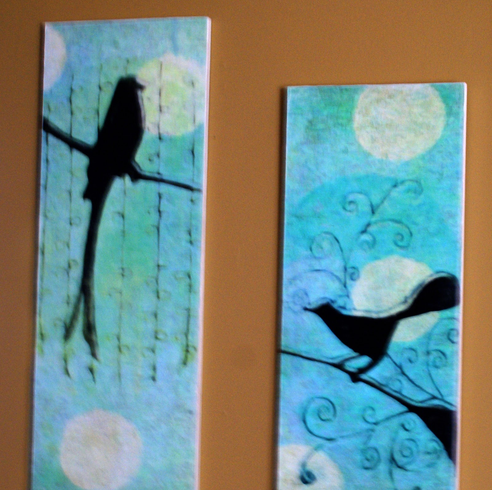 Wall Painting Designs Birds : Bird faux oil painting frugal wall art diy with tutorial