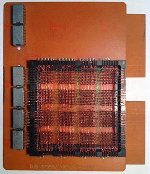 This DJB double-width SMS card provides core memory storage in the IBM 1443 printer