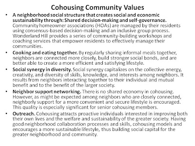 Table 1.3 Wonderland Hills Development Company Cohousing Principles (http://whdc.com/cohousing-principles.html). Initially stating communal objectives will ensure the needs and rights of residents will be protected. Hopefully, programs, classes and social events in the IHF's will reflect their community values.
