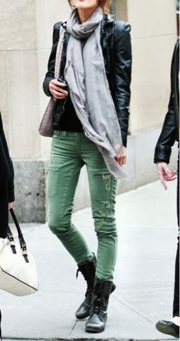 Black leather jacket, grey scarf and olive green pants