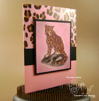 Picture of pink leopard card set at an angle
