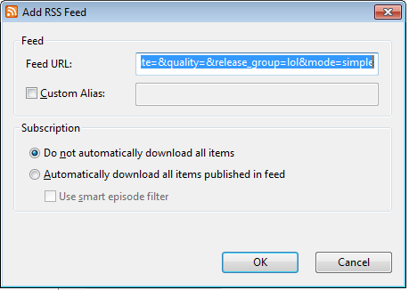 how to add episodes in rss feed utorrent