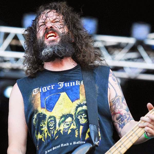 Philthy Gnaast, member of the US band Toxic Holocaust, performs on the stage of the Hellfest Heavy Music Festival on June 20, 2014 in Clisson, western France.