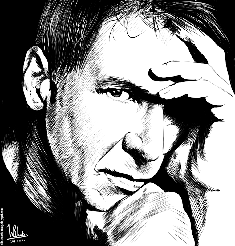 Ink drawing of Harrison Ford, using Krita 2.4.