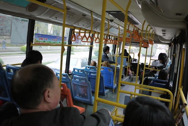 inside of city bus in Zhuhai, China