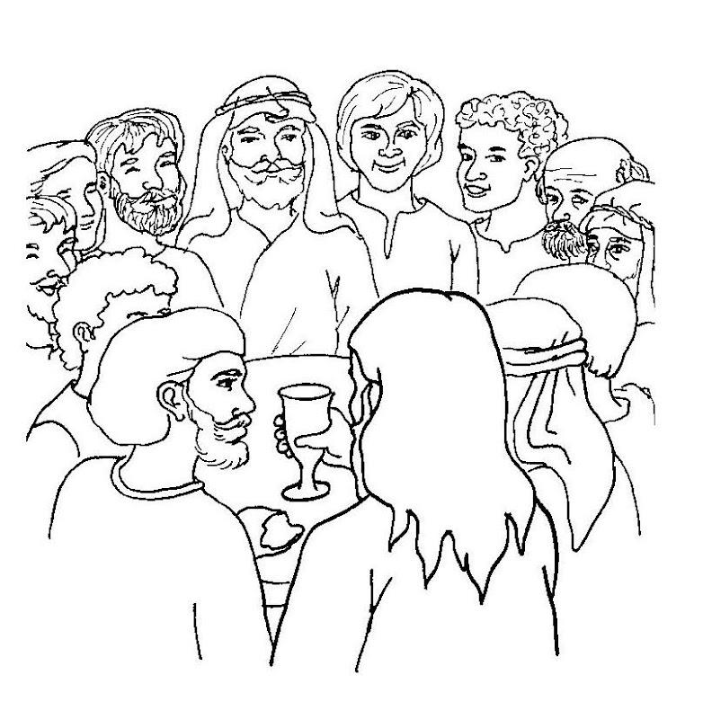 Jesus comparte el pan y el vino con sus discipulos para colorear, última cena para colorear