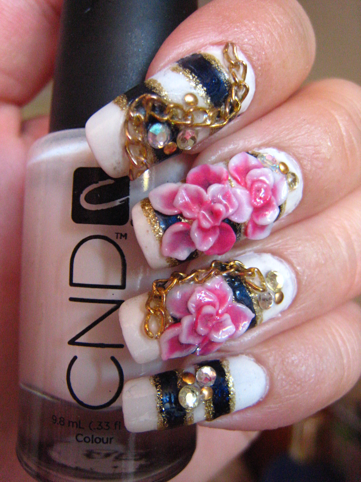 Jin Jins Adventures Nautical Nail Art With Gold Chain And 3d Flowers