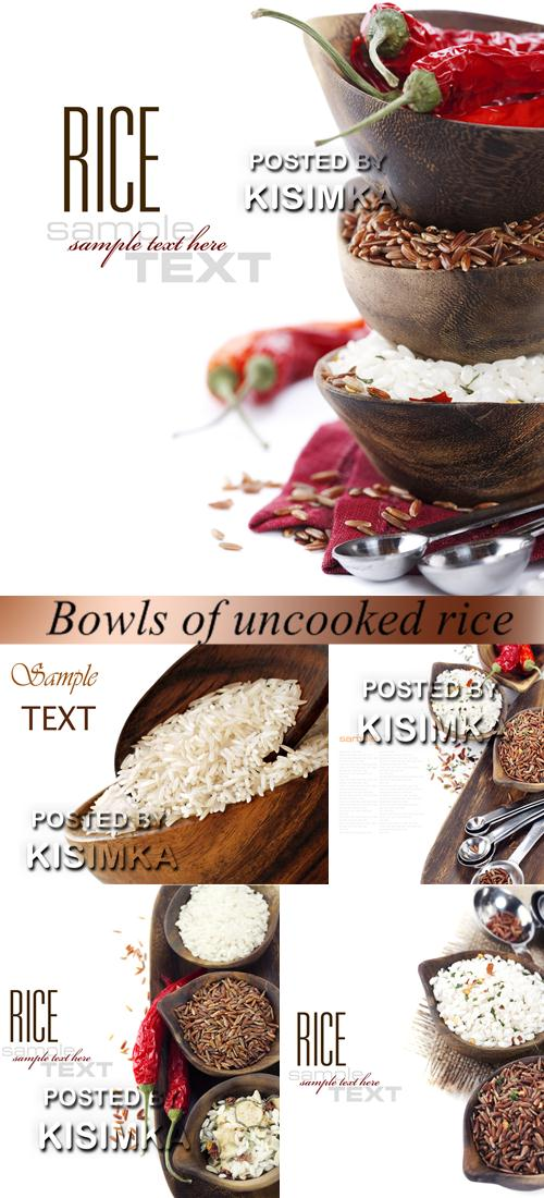 Stock Photo: Bowls of uncooked rice