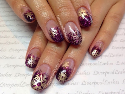 liverpoollashes liverpool lashes gorgeous lecente garnet glitter acrylic nails gold snowflakes