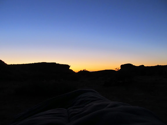View from my sleeping bag before sunrise on Saturday