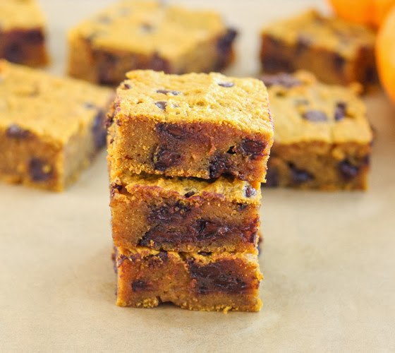 close-up photo of a stack of three Pumpkin Chocolate Chip Bars