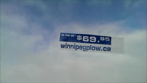 Advertising campain with aerial banner operation in Winnipeg Manitoba Canada