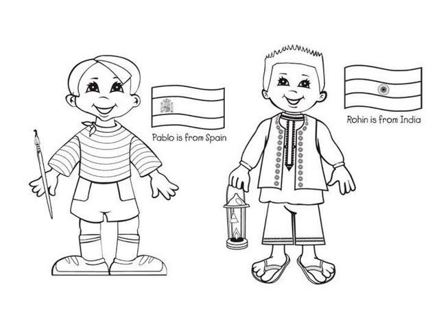 Dibujos De NiÑos Por Nacionalidades: Niños De Diferentes Nacionalidades Para Colorear