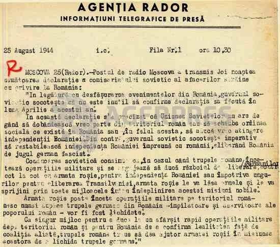 Știre RADOR din 25 august 1944 despre Declarația ministrului de externe sovietic cu privire la evenimentele din România