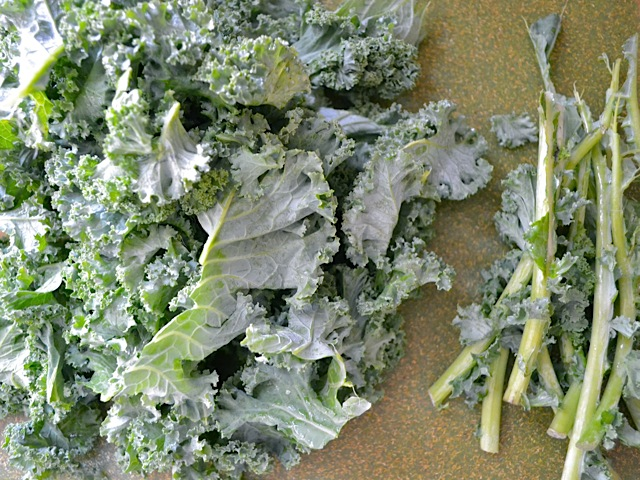 tear kale leaves