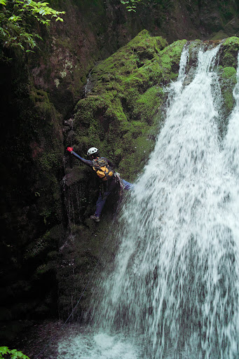 Climbing a waterfall to do tenkara fly-fishing