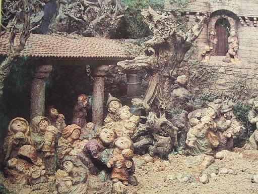 Belen de Baltar: pastores junto al castillo de Herodes mirando la estrella del cielo que anuncia el nacimiento de Jesús