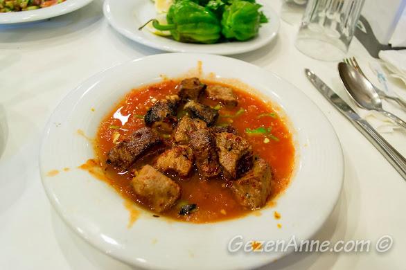 İmam Çağdaş'ta yediğimiz Altı ezmeli kebabı, Gaziantep