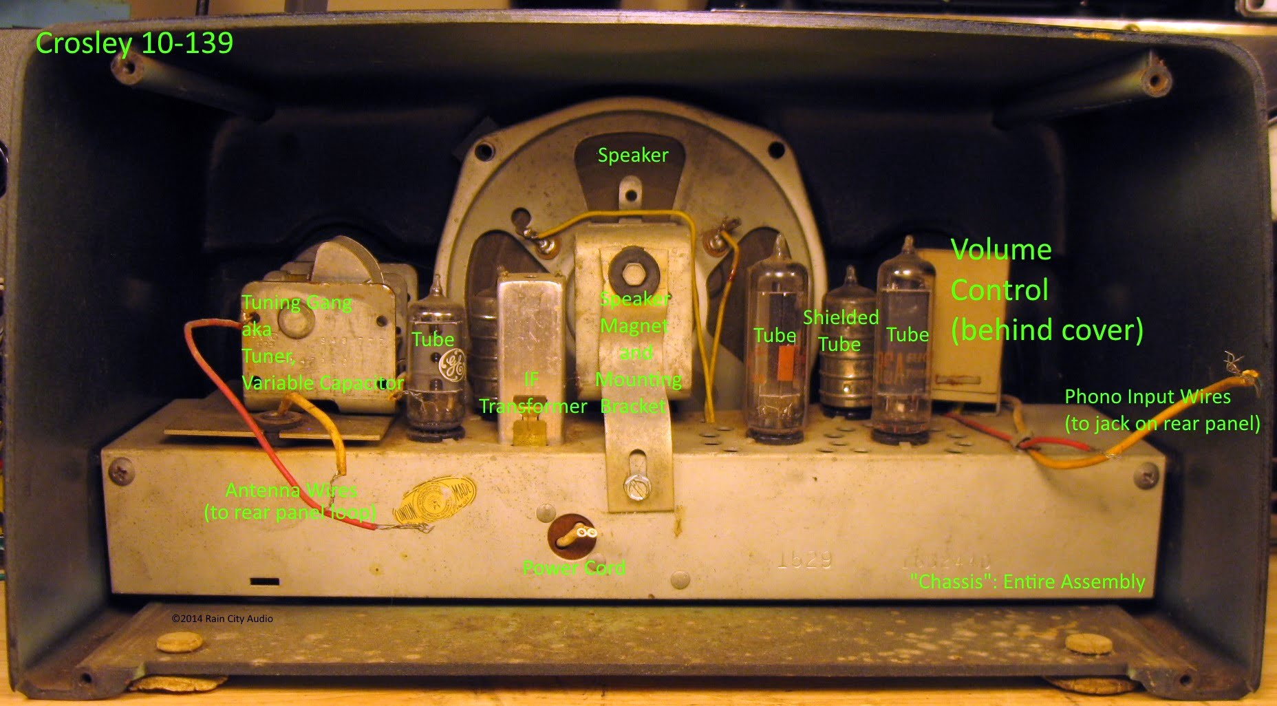 photos with parts diagrams of a vintage tube radio – the crosley 10-139,