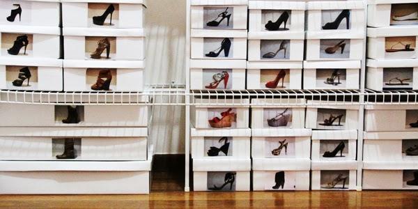 caixas de sapato com foto